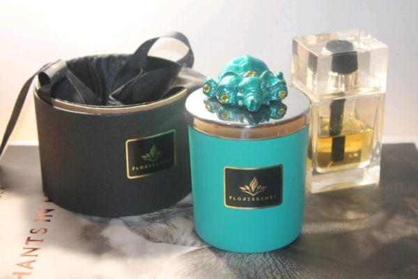 Floressense - bougie parfumée luxe - bougie bijou luxe - bougie décorative luxe - éléphant turquoise